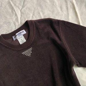 Vintage Y2K Sonia Rykiel Velour Top Short Sleeve
